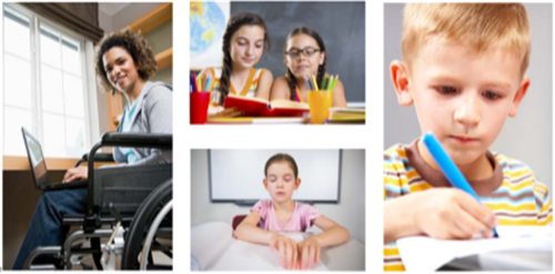 A four picture collage showing four students of different ages and abilities.