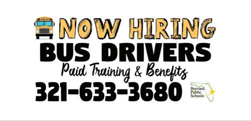 HIRING SCHOOL BUS DRIVERS - CLICK HERE FOR INFO