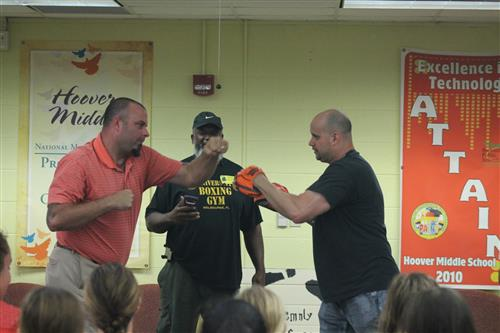 Principal Spars with Boxing Coach