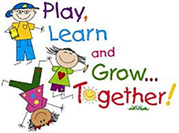 Clip art of children with the words Play, Learn and Grow . . . Together!