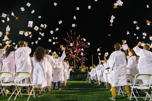 Graduation caps being thrown.