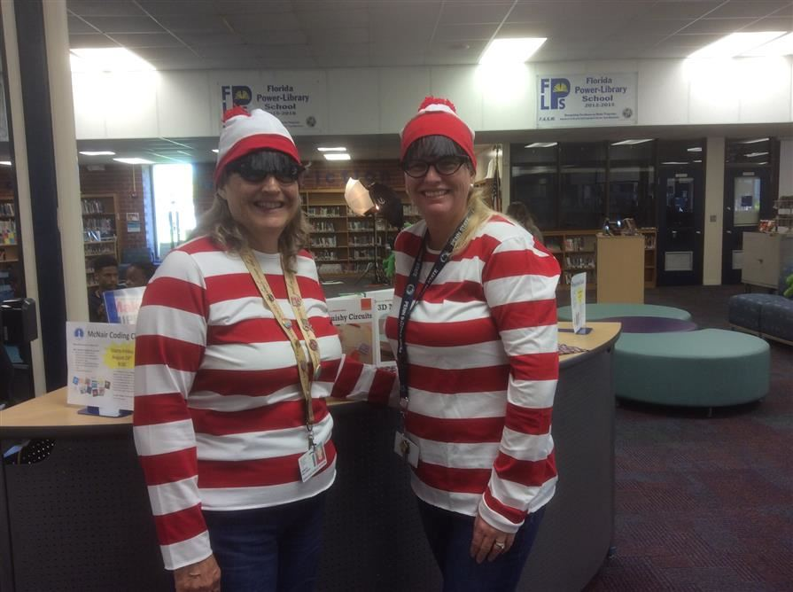 teachers dressed as Waldo