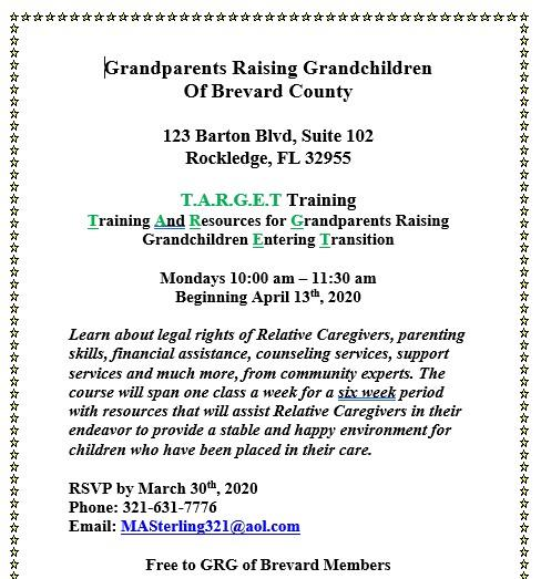 Grandparents Raising Grandchildren Workshop Info: Click Here!