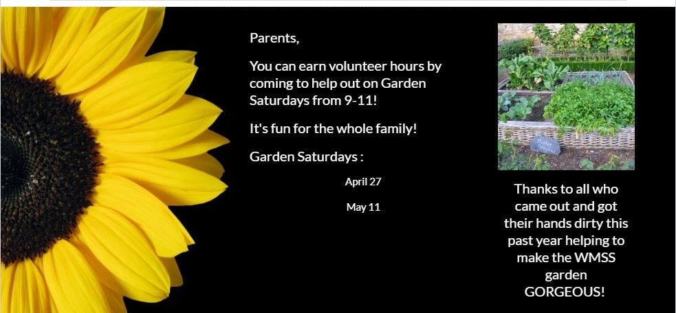 Garden Saturday: Our next Garden Saturday is from 9-11 on 11/17! Come out and get your hands dirty!